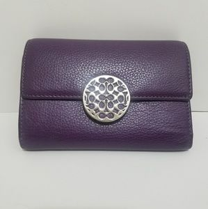 COACH Pebbled Leather Medallion Trifold Wallet